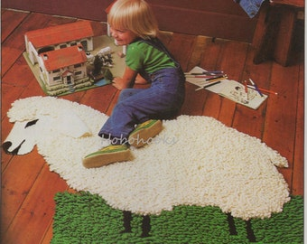 CROCHET sheep rug with guide - 104 by 89 cm -  Chunky / Bulky Yarn - Crochet pattern - PDF instant download