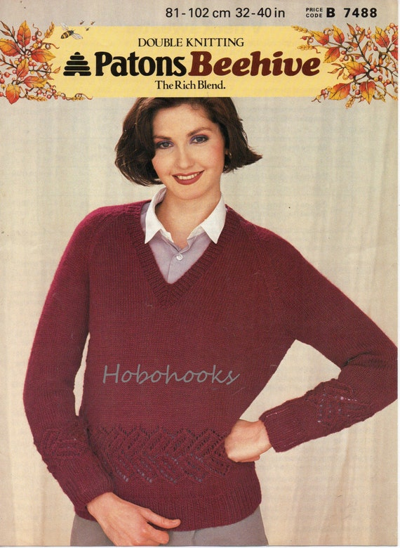 Knitting Pattern Ladies V Neck Jumper : Womens Knitting Pattern Womens V Neck Sweater Lacy by Hobohooks