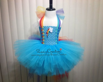 Rainbow Dash tutu set, My little pony outfit, Inspired. Halloween, Birthday outfit, Rainbow dash, Rainbow top, Rainbow bustle skirt