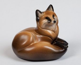Pebble Red Fox Totem -- Animal Figurine -- Painted Miniature Sculpture -- Windstone Editions -- 5202-Red