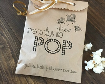 "Baby Shower ""Ready to POP!"" Favor Bags to Hold Popcorn - Personalized with your name and event date!"