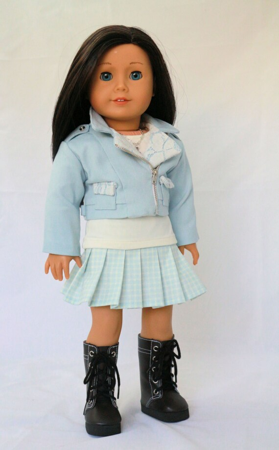 American Girl Doll Clothes fits 18 inch Doll.  French Blue Moto Jacket, Pleated Skirt, T-shirt, and necklace