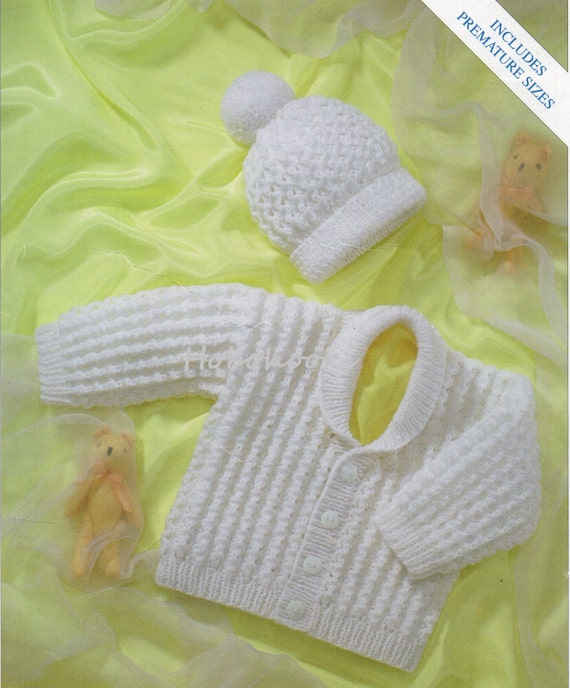 Baby Shawl Collar Knitting Pattern : baby ribbed cardigan with shawl collar & hat premature newborn