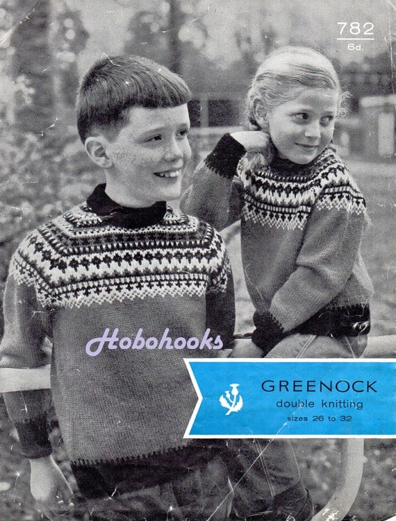 Vintage childrens fair isle sweater knitting pattern PDF