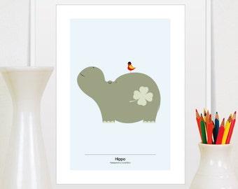 hippo gift, hippo print, hippo art, hippo wall art, hippo poster, hippopotamus gift, hippo decor, happy hippo, animal print, hippo art print