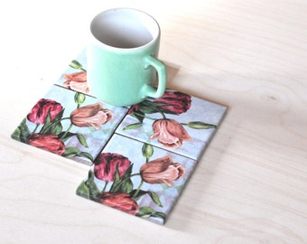Tulip Pattern Ceramic Coasters, Tile Coasters Set of 4, Drink Coasters Tulip Pattern, Table Coasters, Flower Coasters, Wedding Gift Coasters