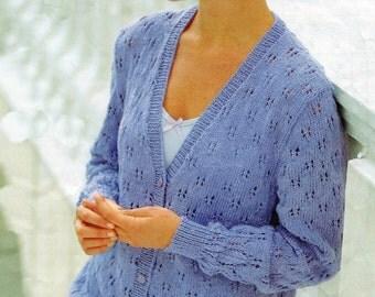 Knitting Pattern PDF Ladies Double Knitting Cardigan