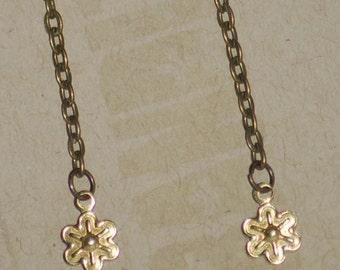 Long Golden Flower Drop Earring Delicate Brass Embossed Blossom Brass Antiqued Lightweight Sparkle Boho For Women or Girls Spring