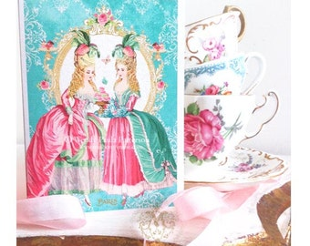 Marie Antoinette card, birthday card, tea party card, card for her, card for girlfriend, high tea, shower tea, macarons, friendship card
