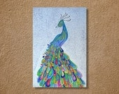 "CUSTOM Peacock Watercolor and Ink Painting Drawing 8"" x 10""  Wall Art"