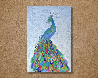 """CUSTOM Peacock Watercolor and Ink Painting Drawing 5"""" x 7""""  Wall Art"""