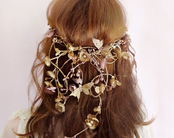 bridal headpiece, bridal hair vine, Swarovski headpiece, bronze jewelry, gold headpiece, butterfly hair accessories, gold flower crown