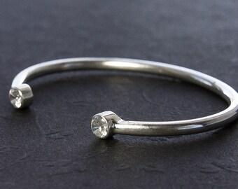 Choose Gemstones. Dual Gemstone Bracelet. Silver Cuff Bracelet. Birthstone Jewelry. Argentium Silver Eco Friendly Jewelry. Gift Under 100