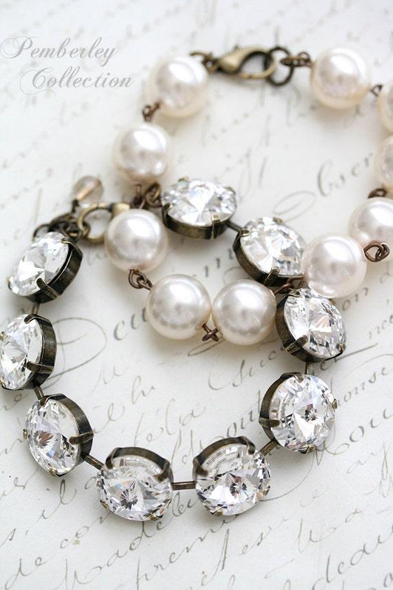 Bridesmaid Bracelet, Pearl Bracelet, Swarovski Crystal Bracelet, Rivoli Bracelet, Swarovski Pearl, Estate Style, Wedding Jewelry