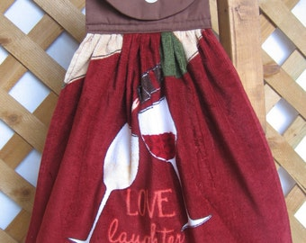 "Wine Theme Kitchen Dish Towel, Hanging Kitchen Towel, Saying Towel, ""Love Laughter & Wine"""