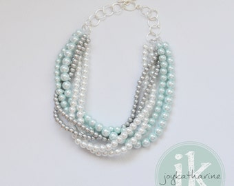 Mint Bridesmaid Necklace - Twisted Pearl Bridesmaid Necklace, Chunky Mint Necklace