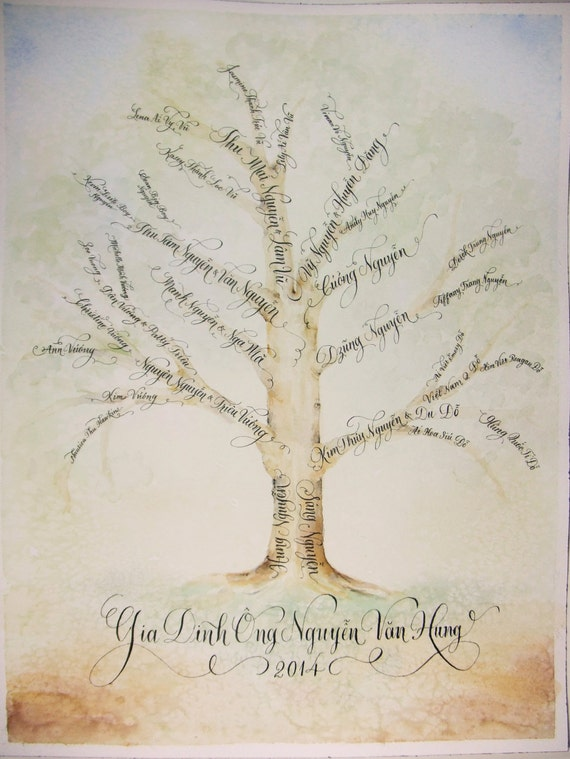 Family tree with hand calligraphy and custom art made to order