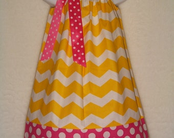 CHEVRON Pillowcase Dress / Pink & Yellow / Sundress  / Disney / Minnie Mouse / Newborn / Infant / Baby / Girl / Toddler / Custom Boutique