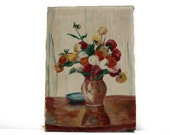 Delicate French Oil PAINTING depicting a bouquet of Dahlias signed Kalotay