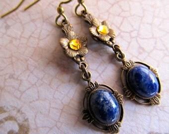 Lapis Lazuli Earrings Lapis Earrings Art Nouveau Earrings Art Deco Earrings Blue Gemstone Earrings Blue Earrings Yellow Earrings- Cleopatra