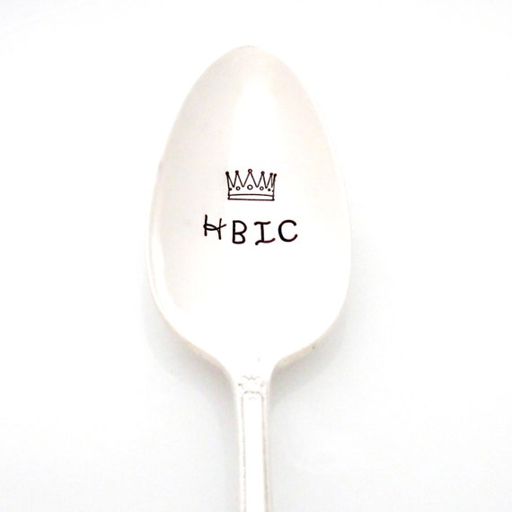 HBIC hand stamped tea spoon. Stamped silverware for the head bitch in charge by Milk & Honey