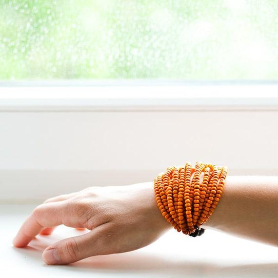 Orange Wood Bead Statement Handmade Bracelet