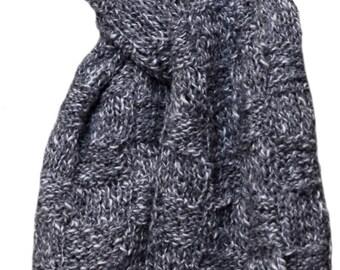 Hand Knit Scarf - Charcoal Tweed Farmhouse Silk Cotton Basketweave