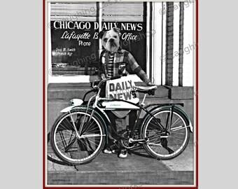 Funny dog print Bulldog print Vintage dog photo bicycle wall art Dog lover gift anthropomorphic print whimsical dog Kitsch Art Print Surreal