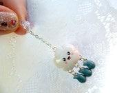 Kawaii Cloud Raindrop Phone Charm, Dust Plug or Cell Phone Strap, Cute :D
