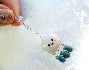 Kawaii Cloud Raindrop Phone Charm, Dust Plug or Cell Phone Strap, Cute :D