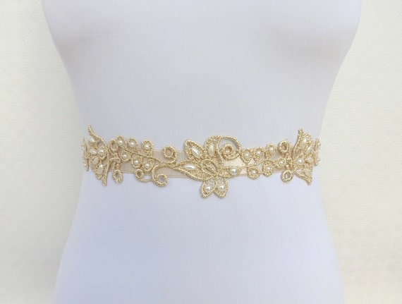 Ivory Elastic Waist Belt decorated with gold lace flowers and Ivory Pearls. Gold floral Bridal Wedding Belt.