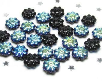 Czech Daisy Flower Bead 9mm - Opaque Jet Black AB - Opaque Glass with Aurora Borealis AB Finish - 25 beads - Midnight Garden, Nature, Goth