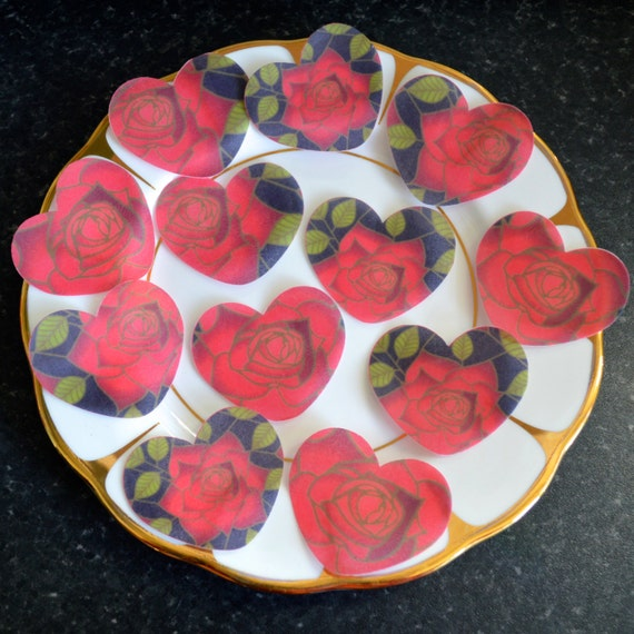 Edible Cake Decorations Hearts : Edible Red Rose Valentines Day Stained Glass Black Heart ...