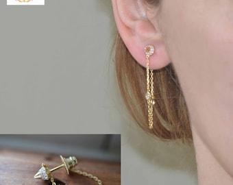 Mother's  day gift spike earring studs,stone dangles stud  earring, Spike trending items,Popular gold spikes.
