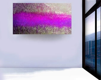 Original Light Wave contemporary modern fine art abstract art acrylic painting silver purple textured canvas by Carol Lee