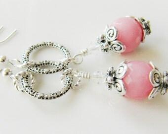 Pink earrings, pink jewelry, dangle earrings, for her, romantic jewelry, bridesmaid earrings, Europe