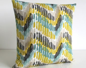 Cushion Cover, Zigzag Pillow Cover, 20 Inch Accent Cushion, 20x20 Pillowcase, Pillow Cover, Throw Pillow Cover, Pillow Sham - Optic Citrus
