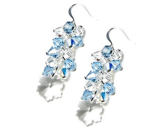 SNOWFLAKE EARRINGS, Swarovski Crystal, Snowflake Jewelry, Clear Crystal, Aqua, Winter Ice, Snow, Frozen, Jewelry For Sisters, Birthday Gift