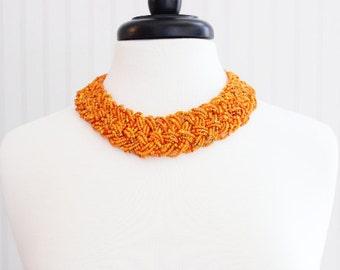 Orange Beaded Chunky Necklace