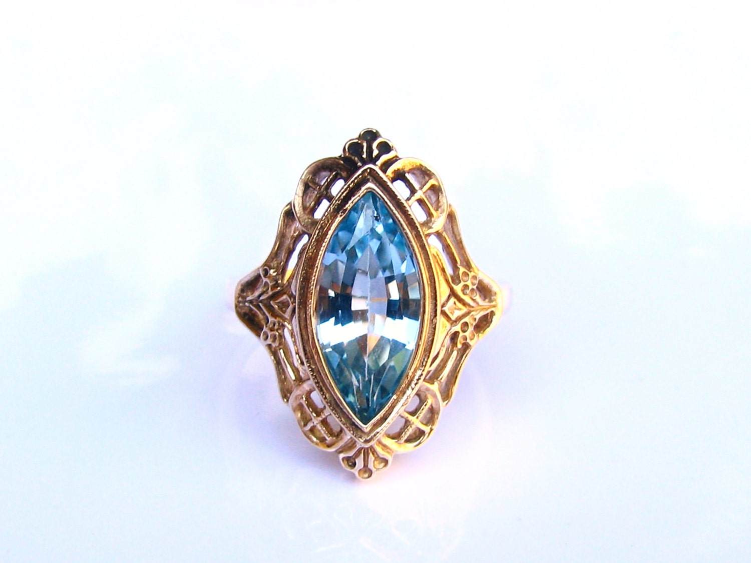 antique style blue topaz engagement ring 2 11ct marquise