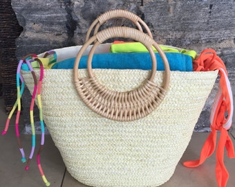 Off White Beach Bags - Straw Tote Bag - Straw Purse - Basket Bag - White Beach Tote - Large Woven Bag - Travel Tote - Beach Wedding Idea
