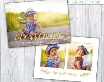 merry christmas template / christmas photo card / christmas photo template / blessings template / photo template photographers / PDF flat