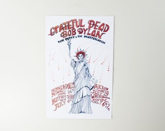 1986 Grateful Dead, Bob Dylan, Tom Petty Tour Poster / Statue of Liberty SKULL FACE with ROSES