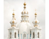 Architecture art print, large wall art photography, white and gold Domes of Cathedral, russian church, 11x14, 20x24, 24x30, poster