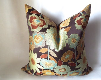 Brown Pillow, Decorative Pillows, Burnt Orange Pillow Cover,  Throw Pillows, Floral Cushion Cover, Brown Throw Cushions, Pillow Decor 0060