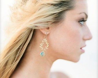 Laurel Wreath Earring, Aqua, Aquamarine Blue, Gold Plated Chandelier Earring. Blue Wedding. Bridesmaid Gift. Something Blue, Beach Wedding