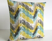Zigzag Pillow Cover, Zigzag Pillow Sham, Scatter Cushion, Pillowcase, Cushion Cover, Throw Pillow Cover, Pillow Cover - Optic Citrus