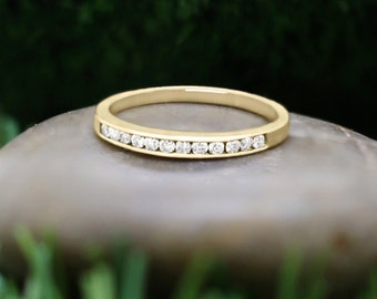 2.5MM Diamond Wedding Band | Channel Setting | Solid 14K Gold | Stackable Ring | Fine Jewelry | Free Shipping
