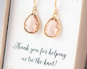 Bridesmaid Gift SHIPS TOMORROW Bridesmaid Earrings Jewelry Set Blush Earrings Necklace Bridesmaids Jewelry Bridesmaids Jewelry Gift