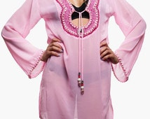 Pink Tunic - Caftan Dress - Beachwear - Summer Wear - Beach Coverup - Resort Wear - Beach Tunic - Vacation Dress - Beach Kaftan - Honeymoon
